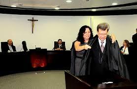 Na foto, a conselheira Anilcéia Machado e o conselheiro afastado Domingos Lamoglia.