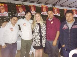 Lucin (de camisa vermelha), acompanhado dos empresários  Edimilson e Samuel. Com muitos amigos e familiares no DF , apoiam Cleide e Rafael.