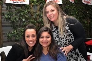 Cleide com sua filha Emanuelle e Patrícia Roriz, esposa de Rafael Barbosa.