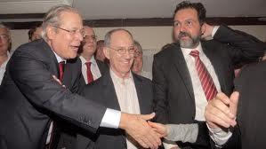 Zé Dirceu, Rui Falcão e Agnelo Queiroz. O presidente do PT quer limitar a mídia.